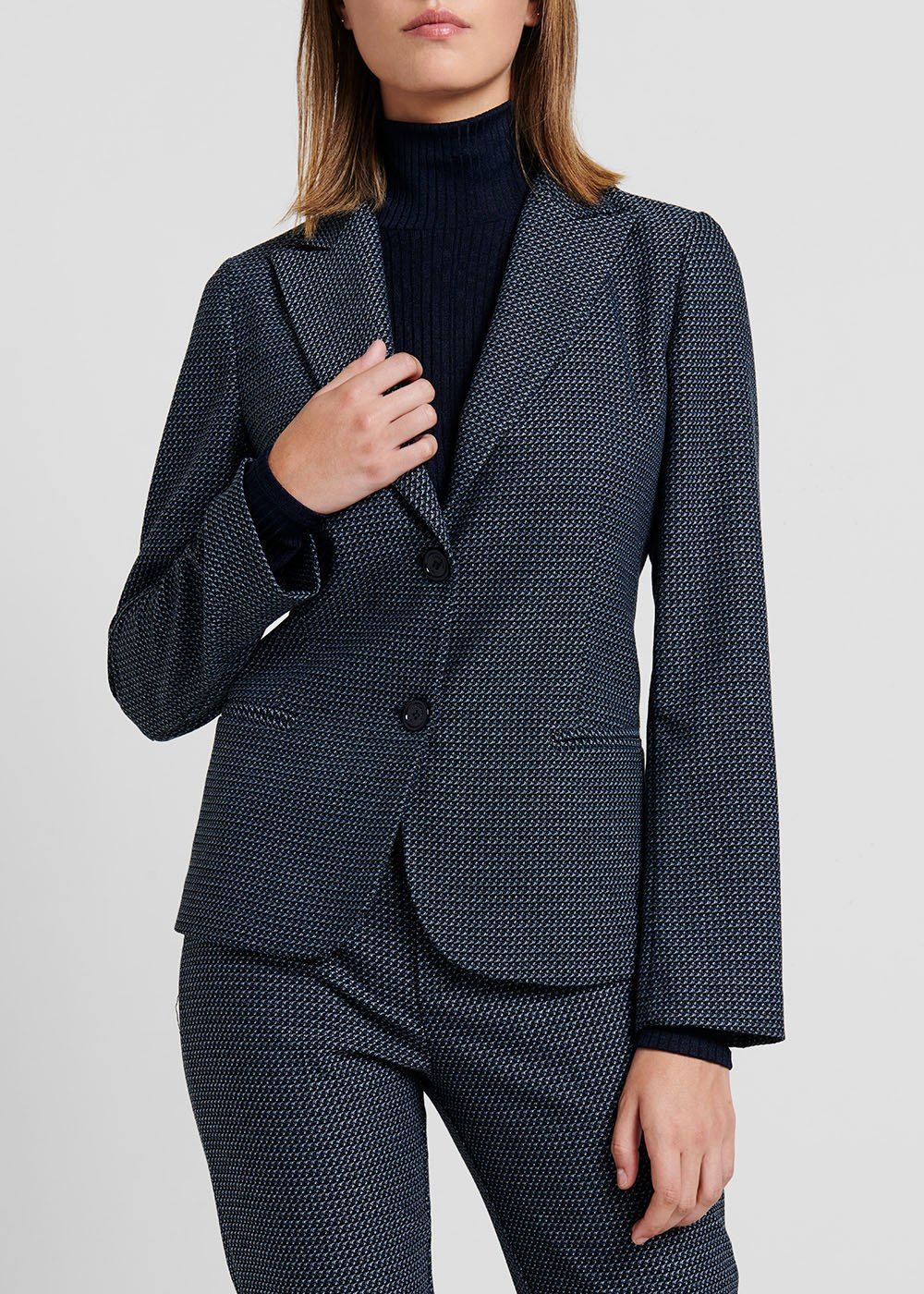 Micro-patterned jacquard jacket - Blue / Black Fantasia - Woman