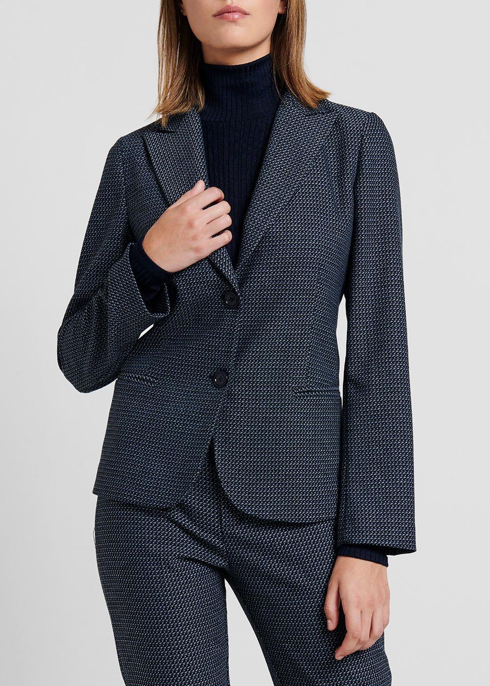 Micro-patterned jacquard jacket - Blue / Black Fantasia - Woman
