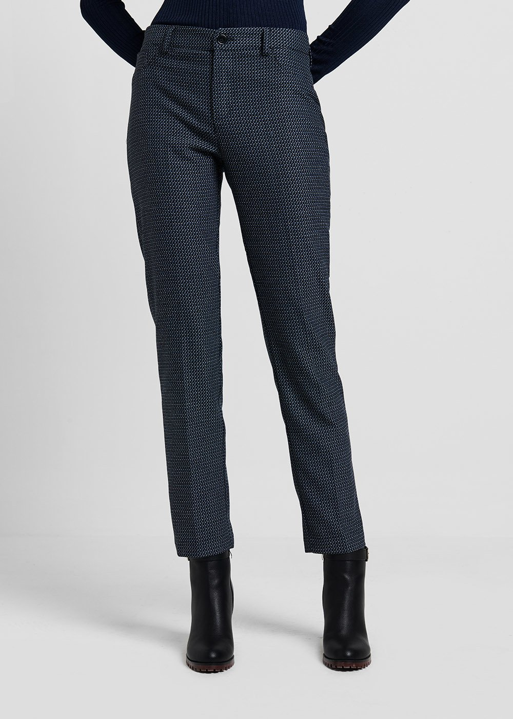 Kelly D trousers in jacquard fabric - Blue / Black Fantasia - Woman