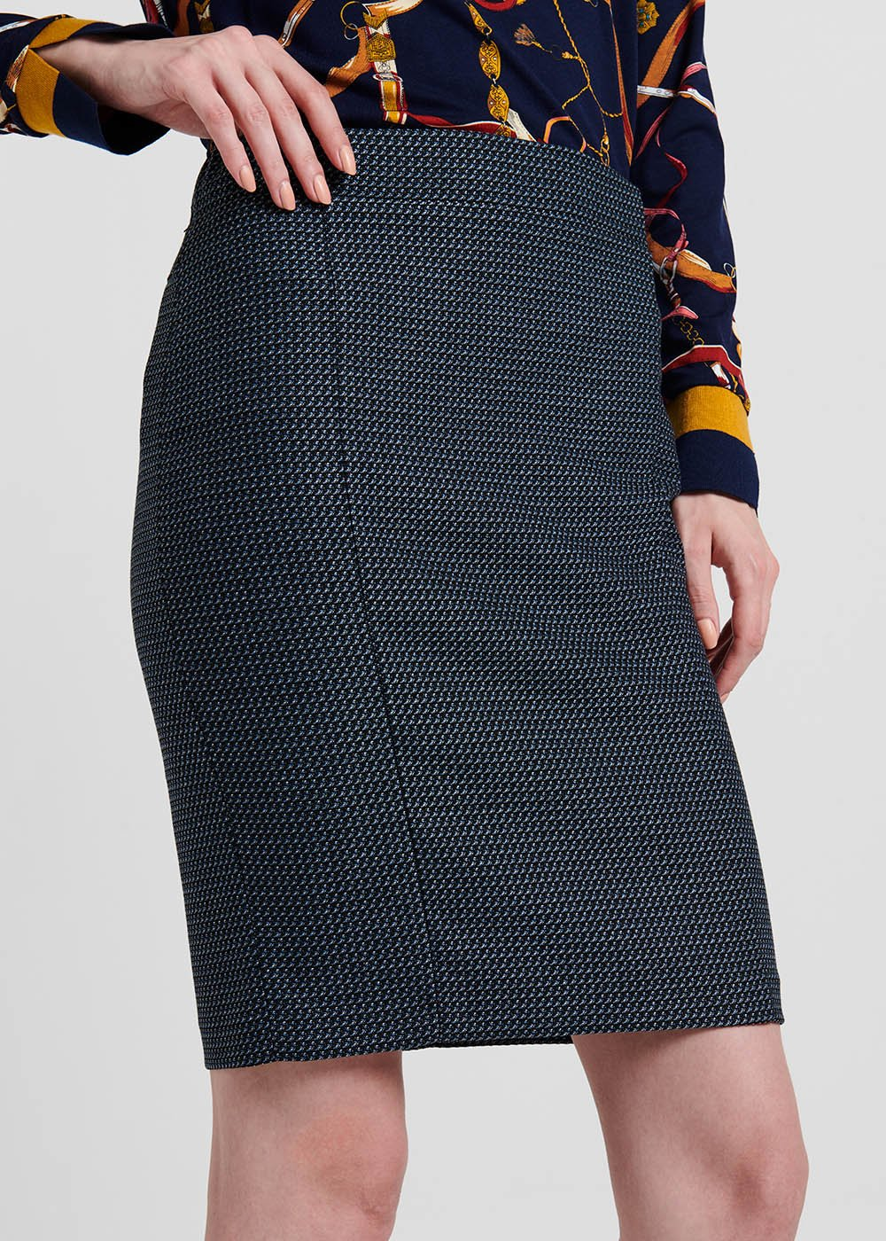 Pencil skirt in jacquard fabric with blue micro pattern - Blue / Black Fantasia - Woman