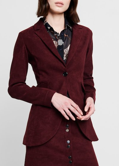 Burgundy faux-suede jacket