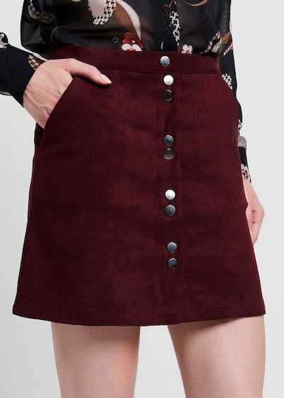 Burgundy faux-suede skirt