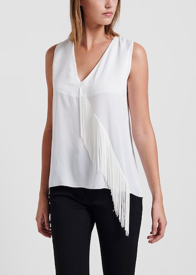 V-neck top in faux - satin fabric