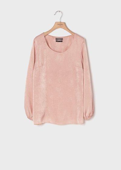 T-shirt in simil satin color rosette