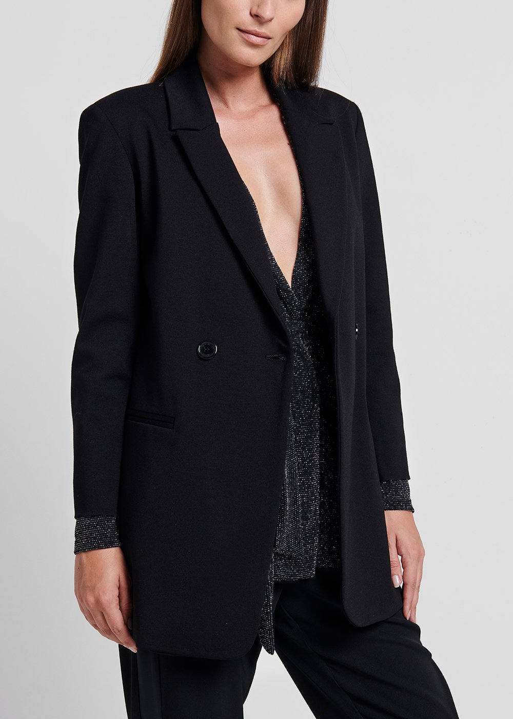 Double - breasted jacket - Black - Woman