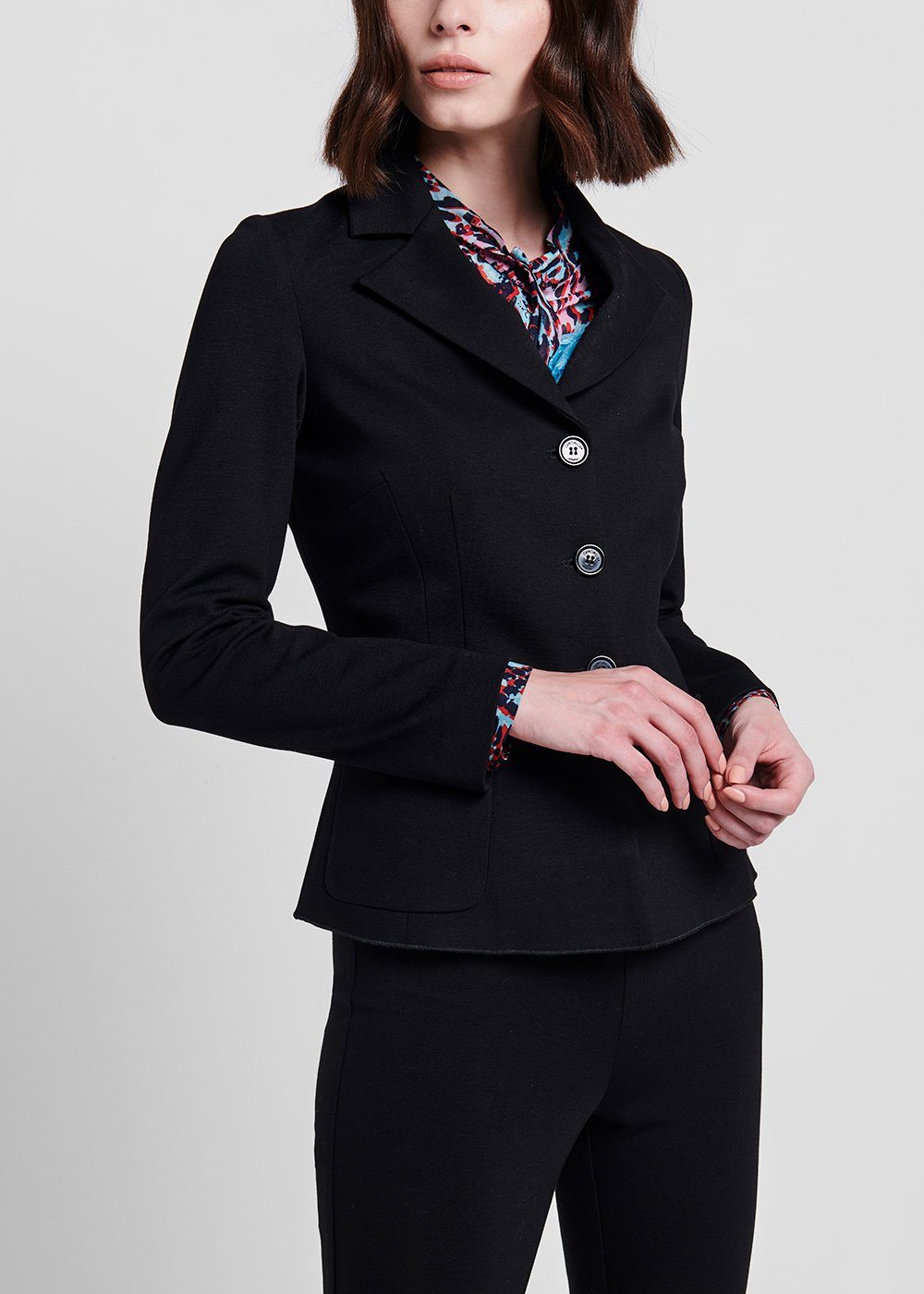 Jacket in milano stitch with 3 buttons - Black - Woman