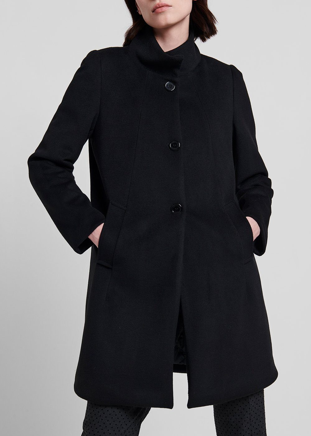 High-neck coat with quilted lining - Black - Woman