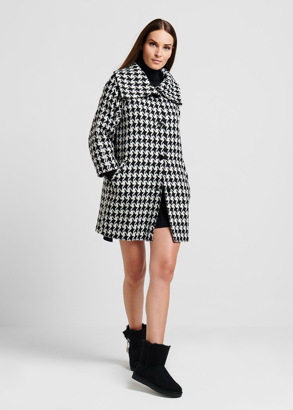 Jacquard coat with houndstooth pattern - Black / White Fantasia - Woman