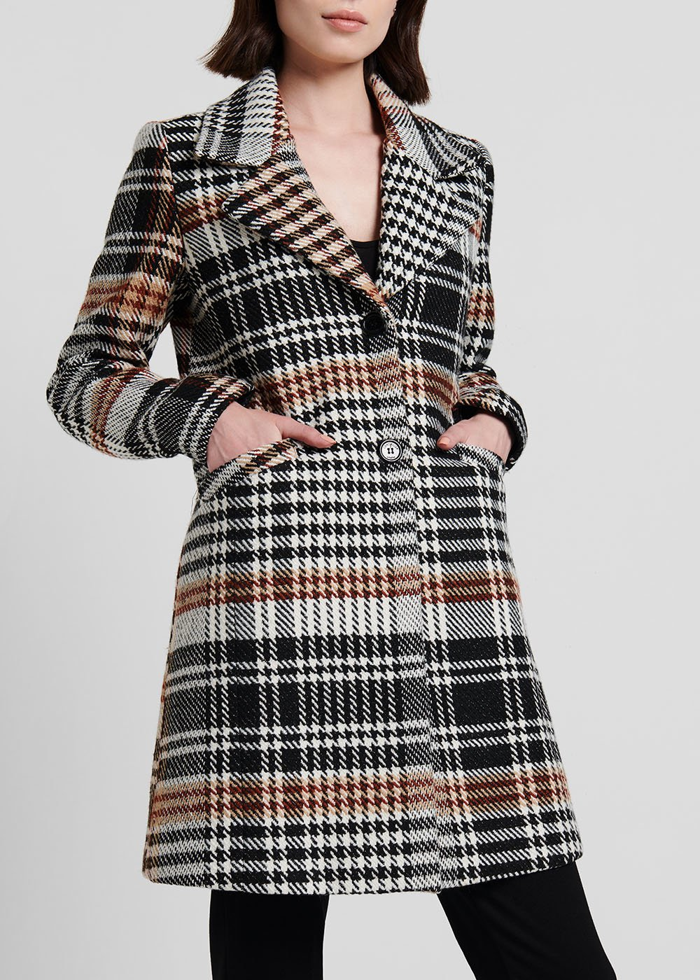 Cappotto stampa check con doppio bottone - Black / White Fantasia - Donna