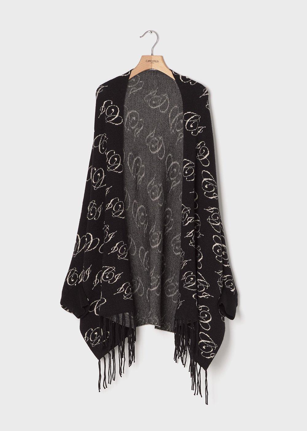 Mari cloak with logo - Black / White Fantasia - Woman