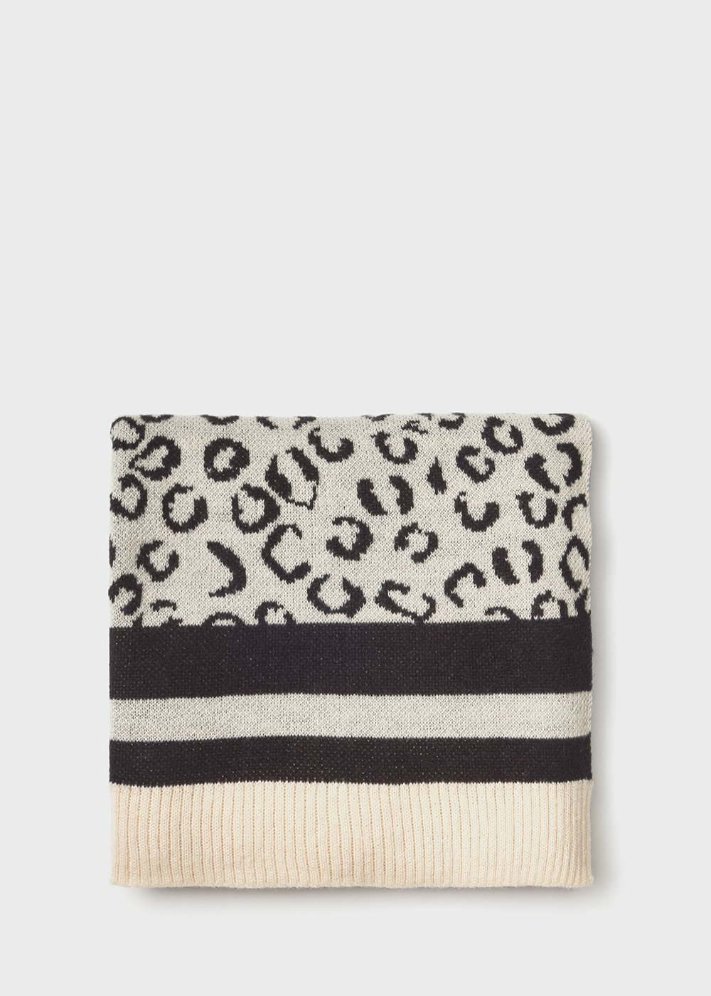 Sanina scarf with animal print - Black / White Fantasia - Woman