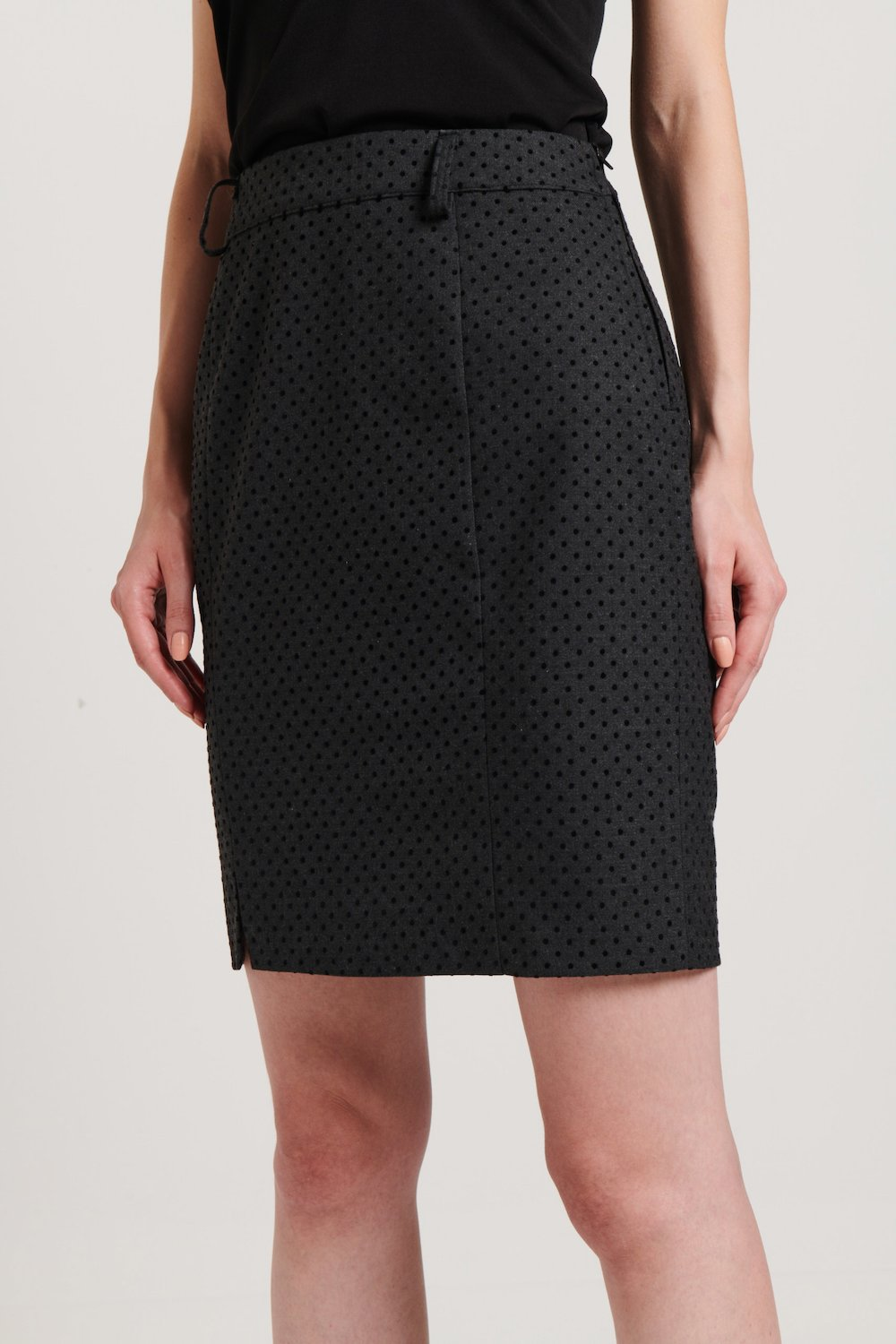 Pencil skirt with polka dot flocked print - Dark Grey /  Black Pois - Woman