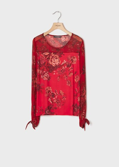T-shirt with rose print in passion red colour