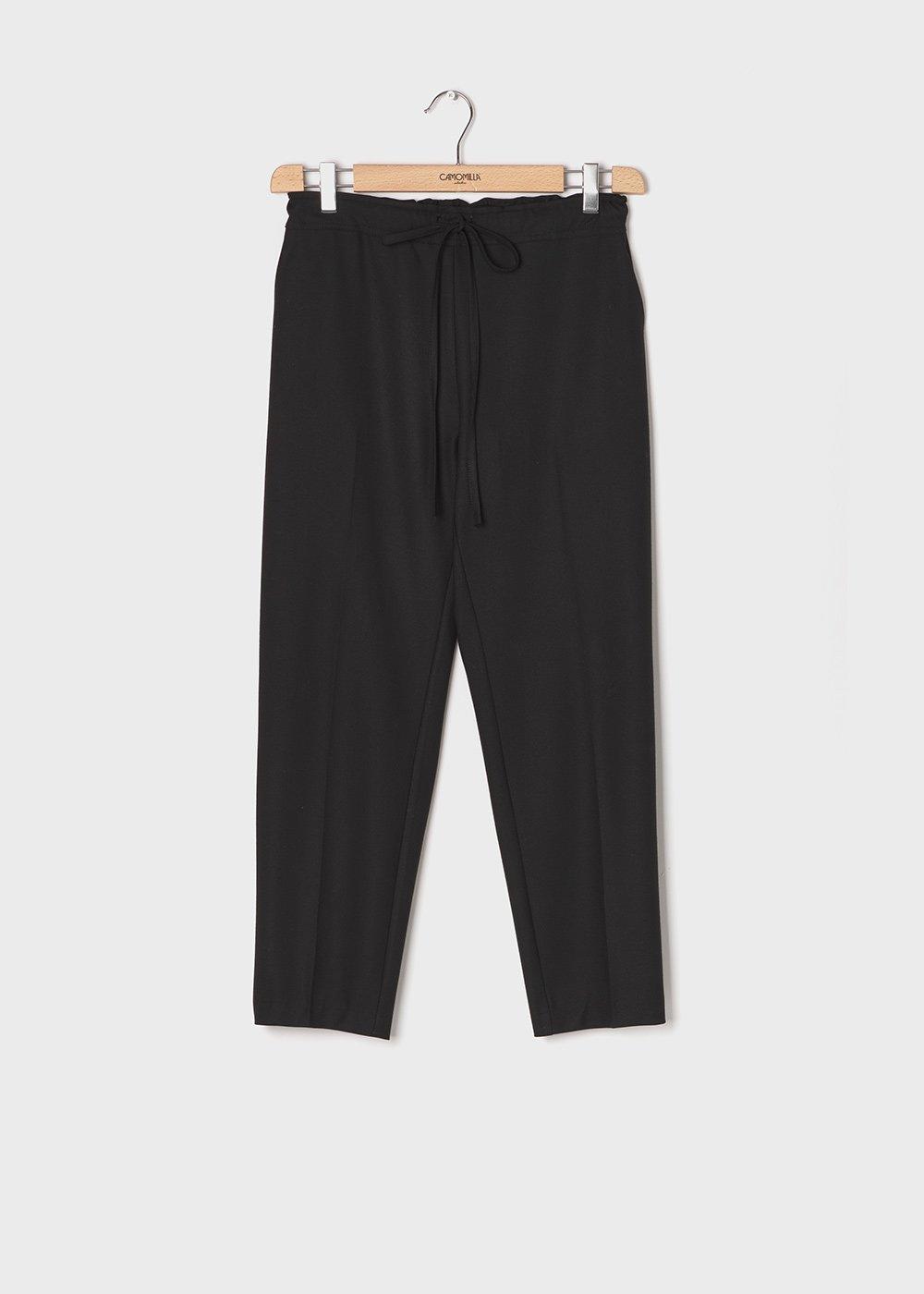 Pantaloni modello Clara in flanella - Black - Donna