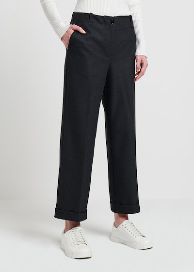Straight flannel trousers