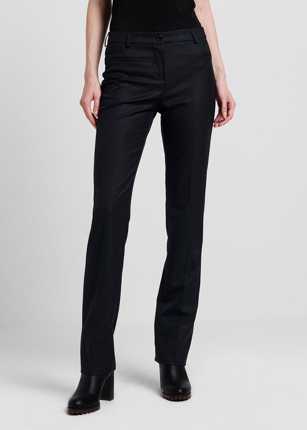 Cigarette trousers in flannel fabric - Dark Blue - Woman
