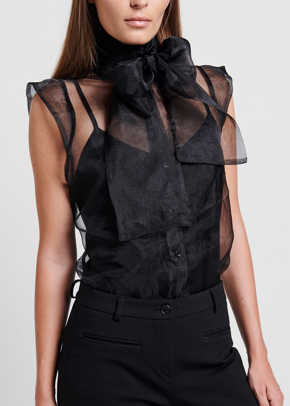 Organza top with bow on the neckline - Black - Woman