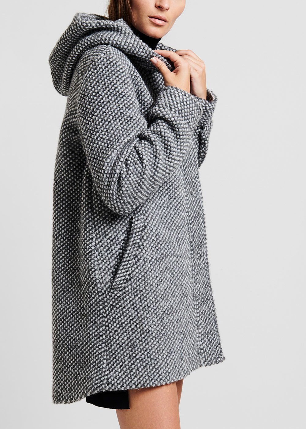 Parka coat in knitted fabric - Grey / White - Woman