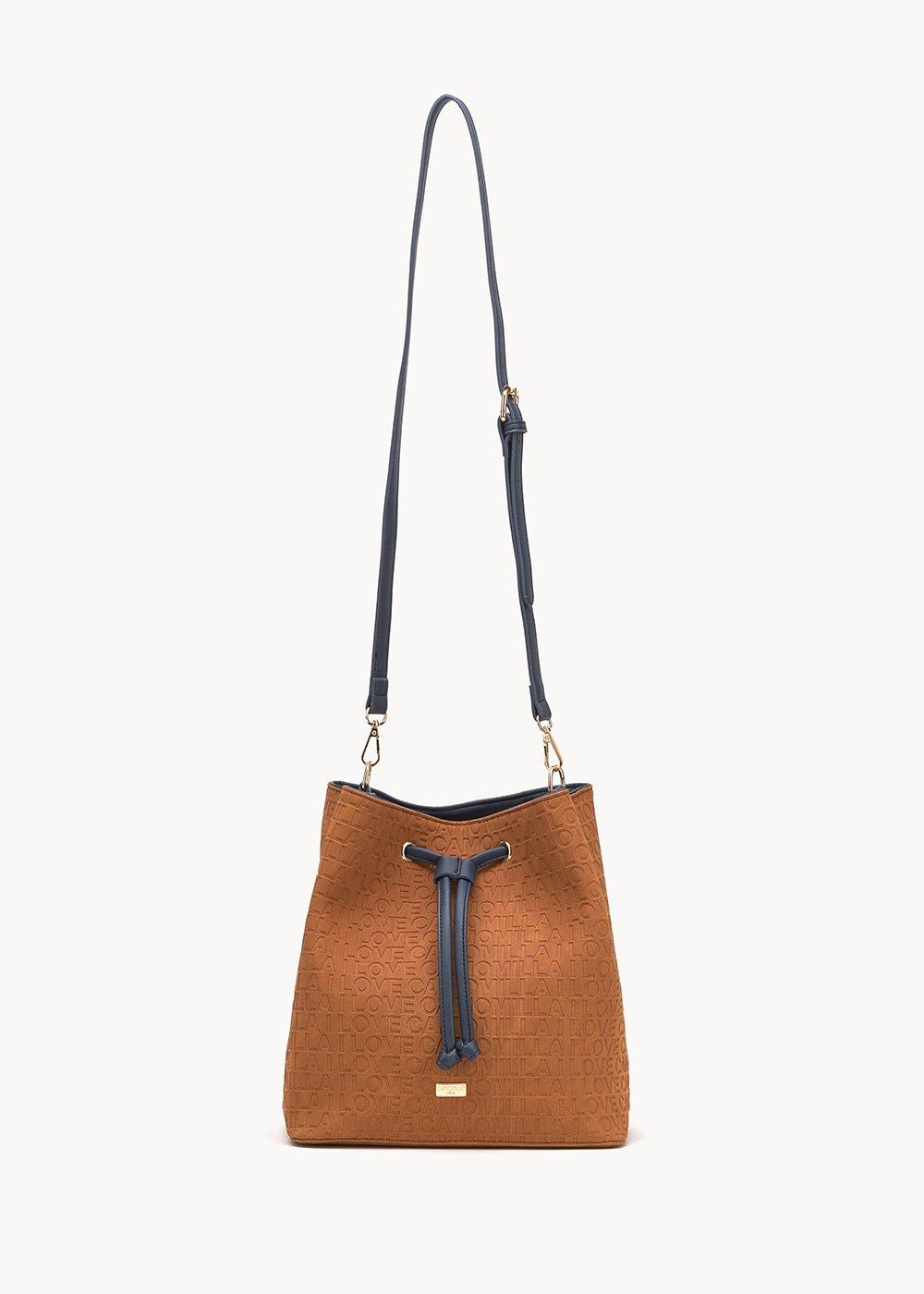 Bucket bag with logo - Land / Medium Blue - Woman