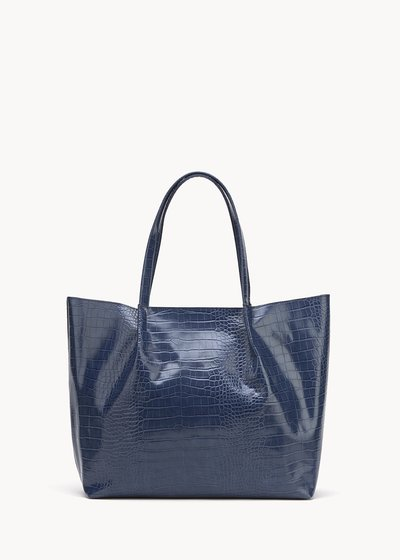 Blanch shopping bag with crocodile print