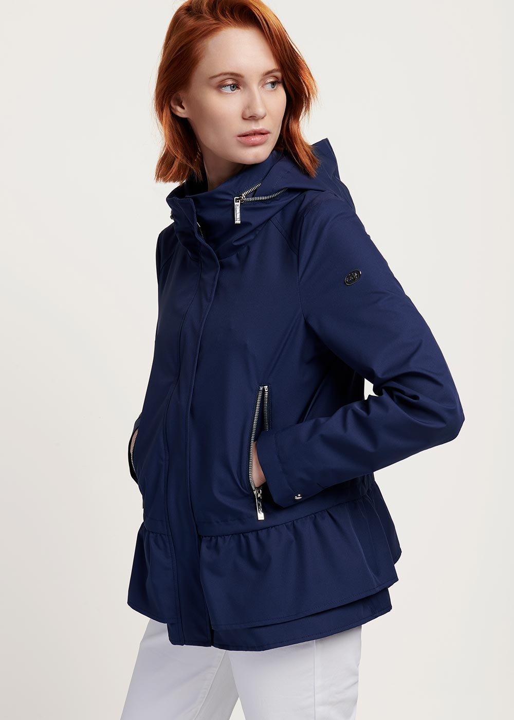 Gayl jacket in technical fabric with wraparound collar - Medium Blue - Woman