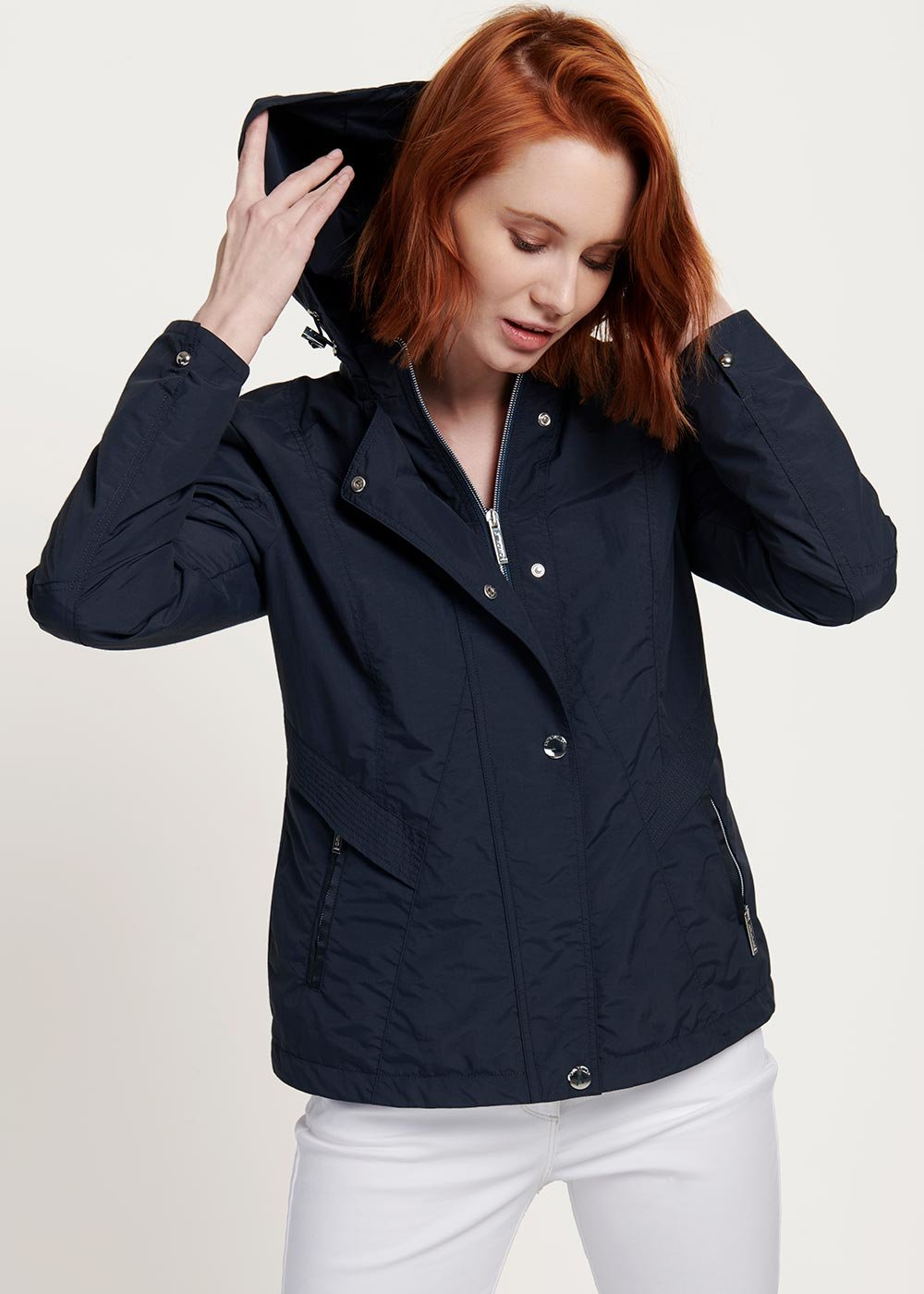 Gael cotton jacket with hood - Medium Blue - Woman