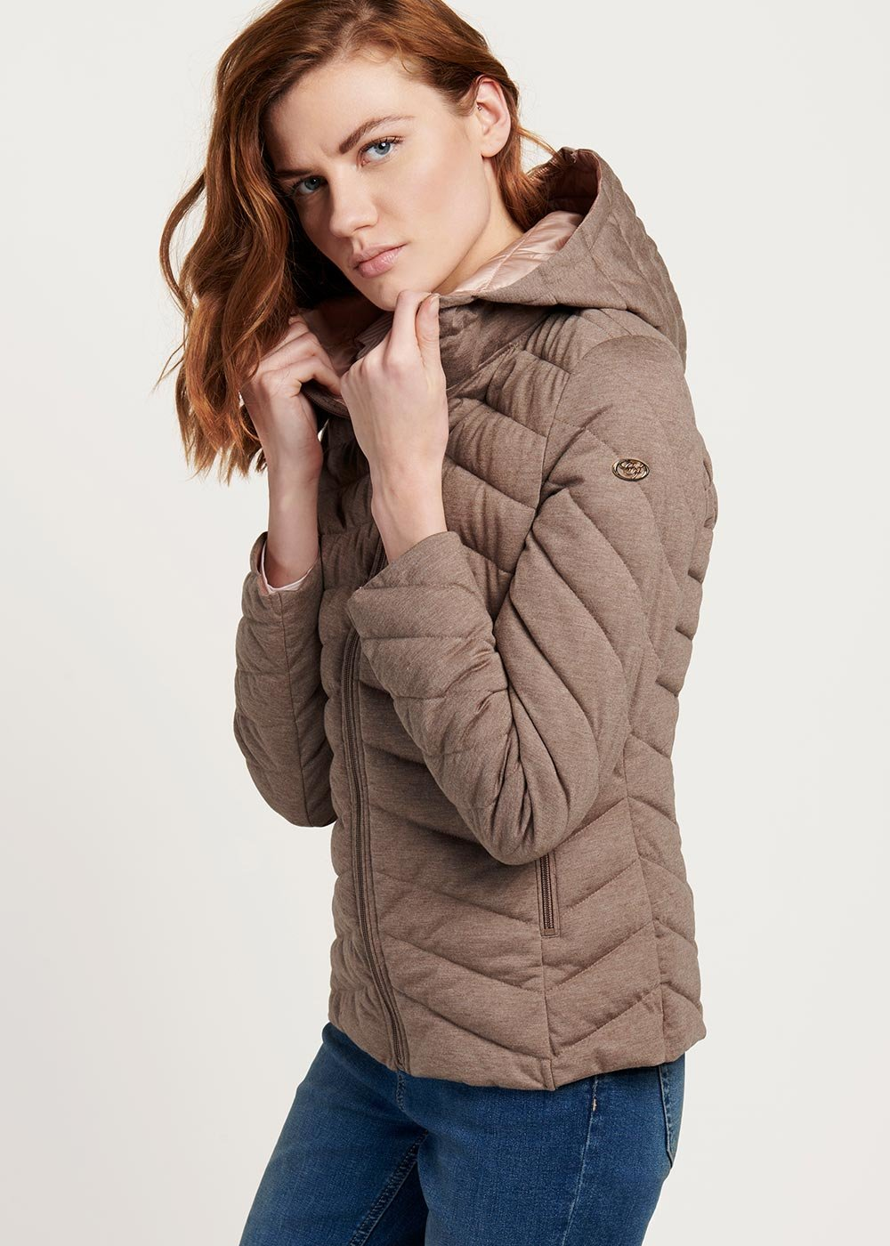 Ultralight Park down jacket with hood - Taupe - Woman