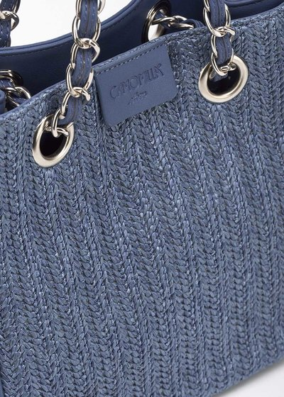 Micro Camo Girl raffia shopping bag