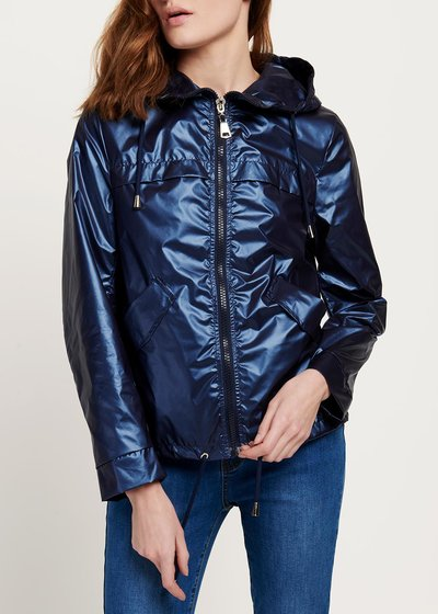 Geordie jacket in metal fabric with hood