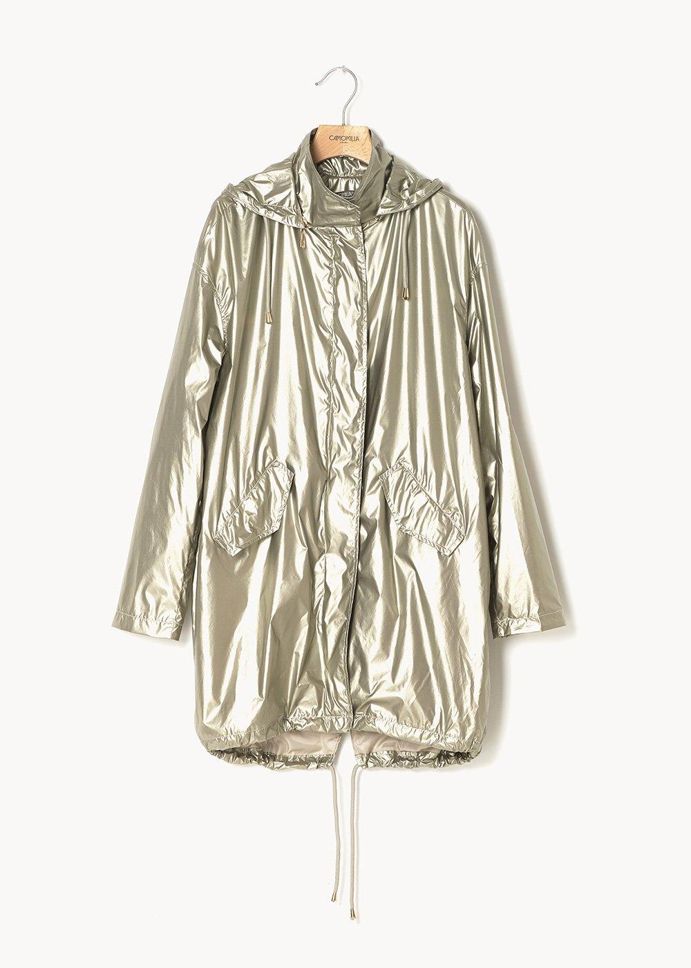 Georgie long jacket in metal fabric - Ginger - Woman