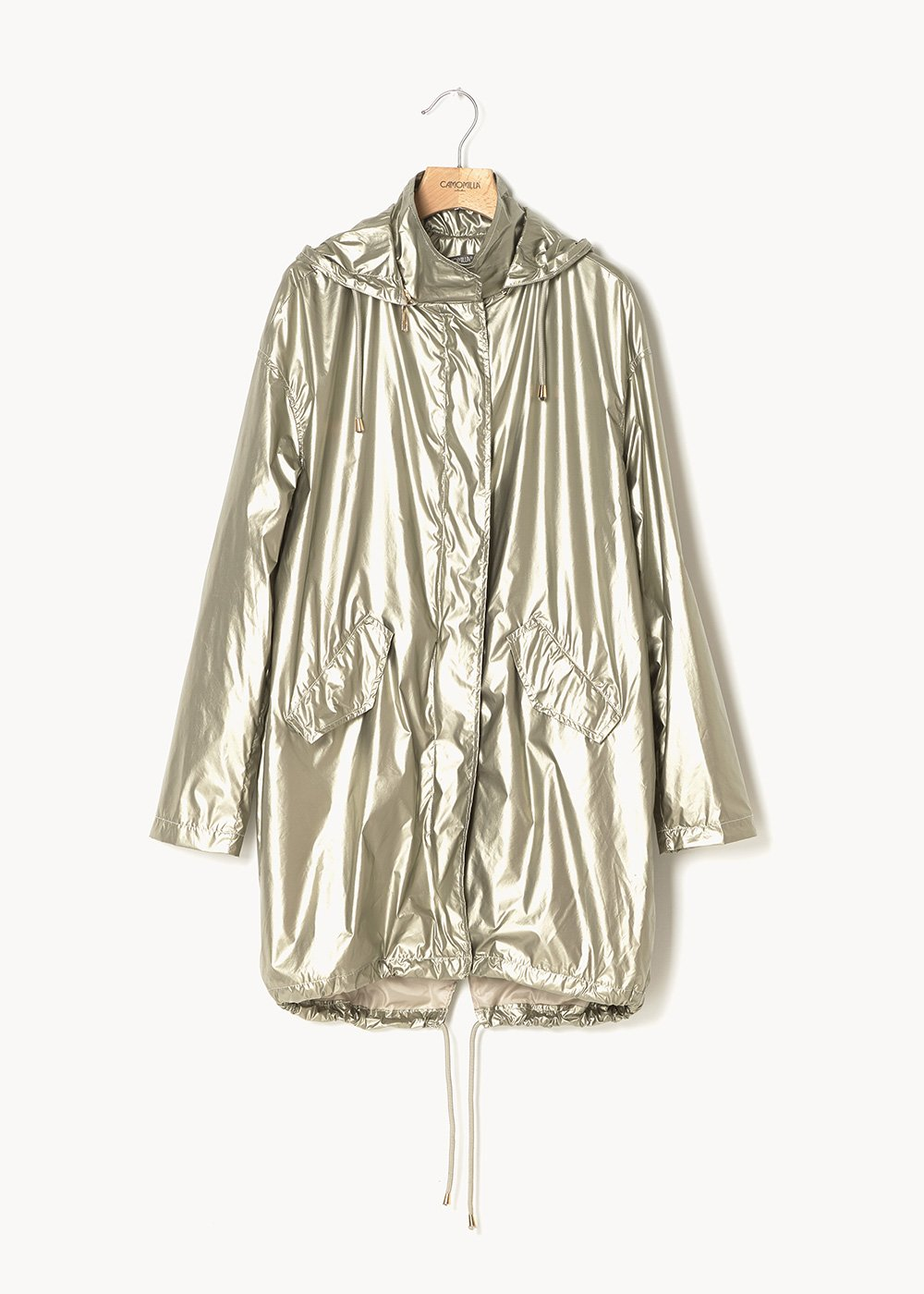 Georgie long jacket in metal fabric - Ginger - Woman