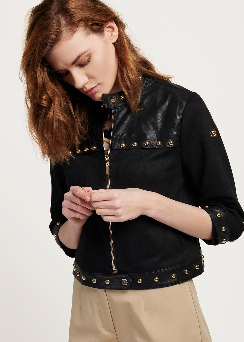 Charlie faux-leather jacket with light gold studs - Black - Woman