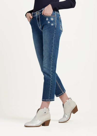 Prime denim capri trousers with contrasting stitching