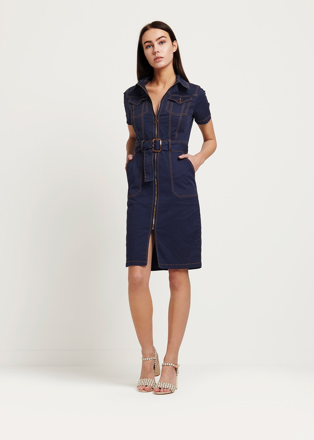 Amis blue dress with contrasting stitching - Medium Blue - Woman
