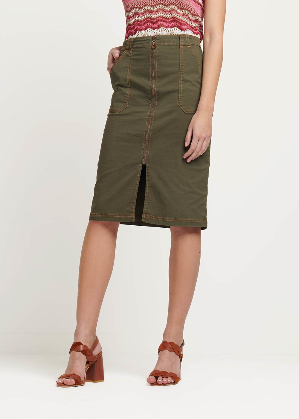 Galy skirt with frontal zipper - Green - Woman