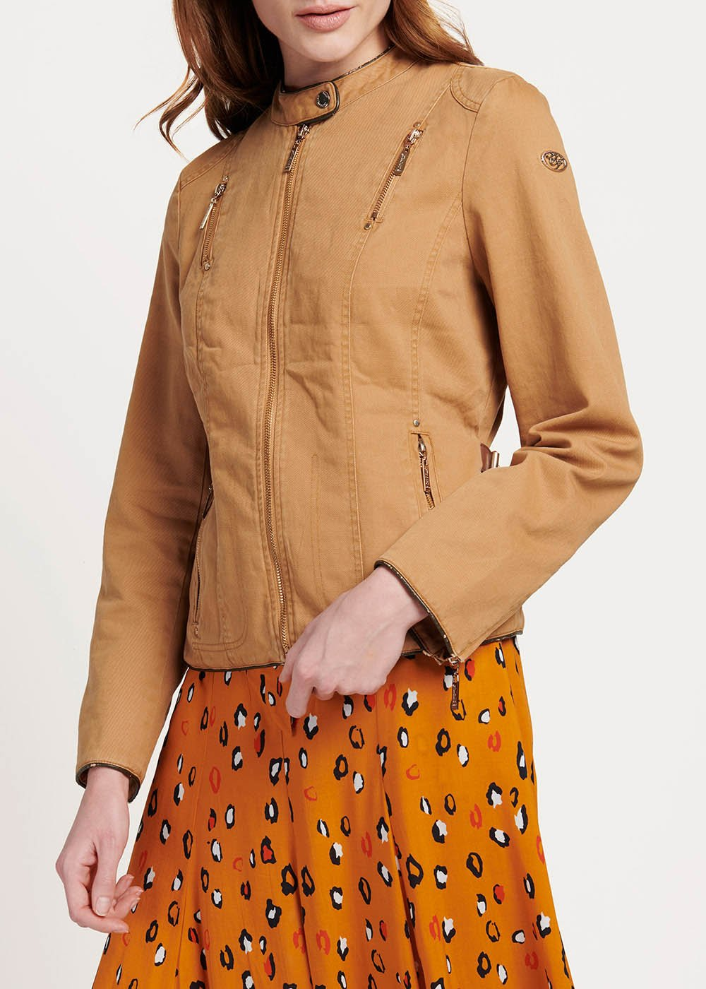 Golia jacket with front multi-zipper - Tobacco - Woman