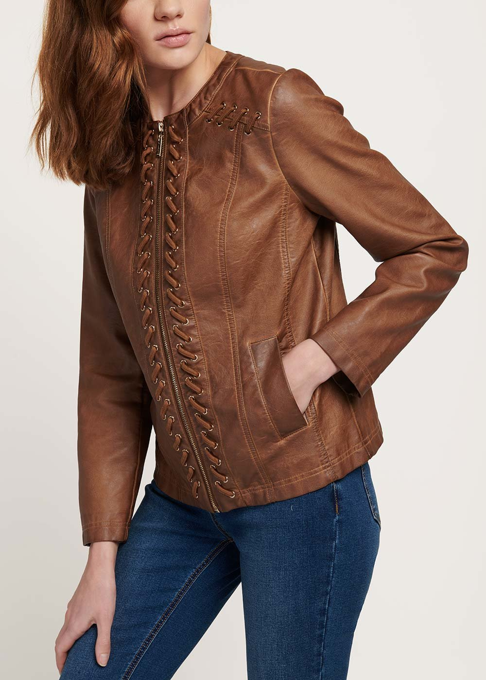 Georges jacket with faux-leather cross detail - Cocoa - Woman
