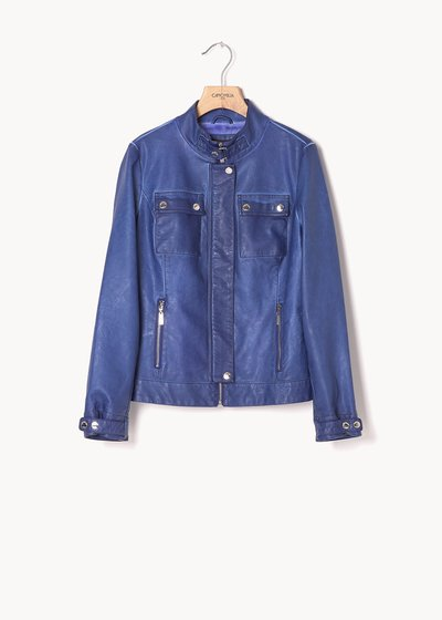 German jacket in air force blue faux-leather fabric