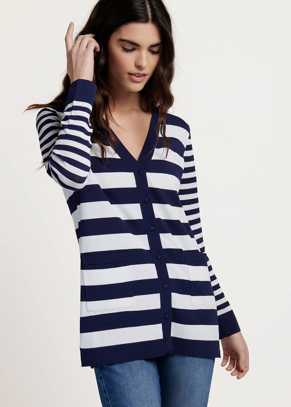 Casey cardigan with white&blue stripes - M.blue / White / Stripes - Woman