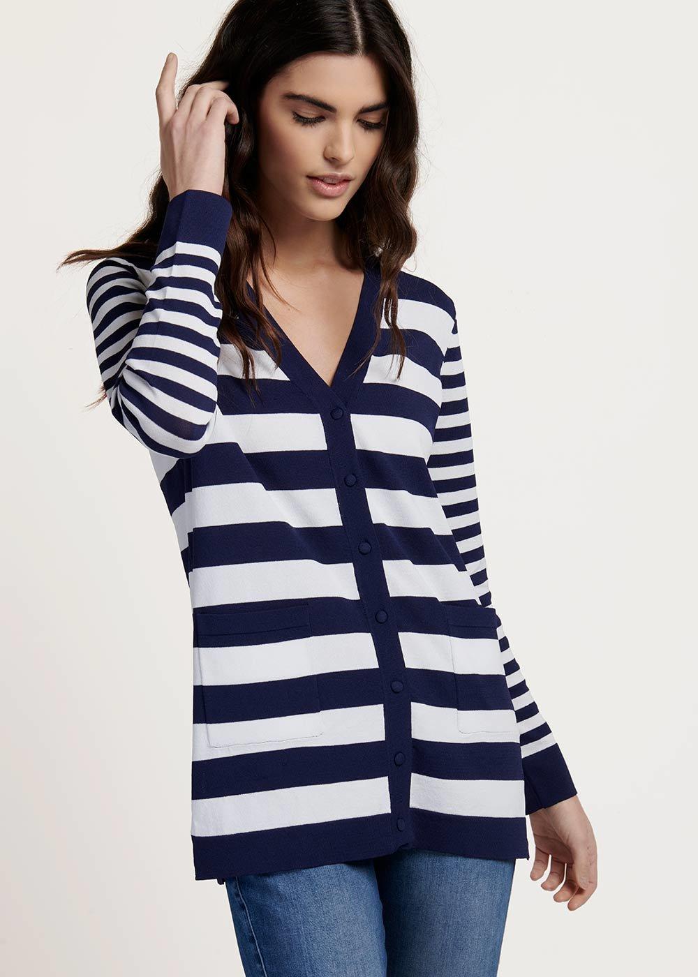 Casey cardigan with white&blue stripes - M.blue / White / Stripes - Woman