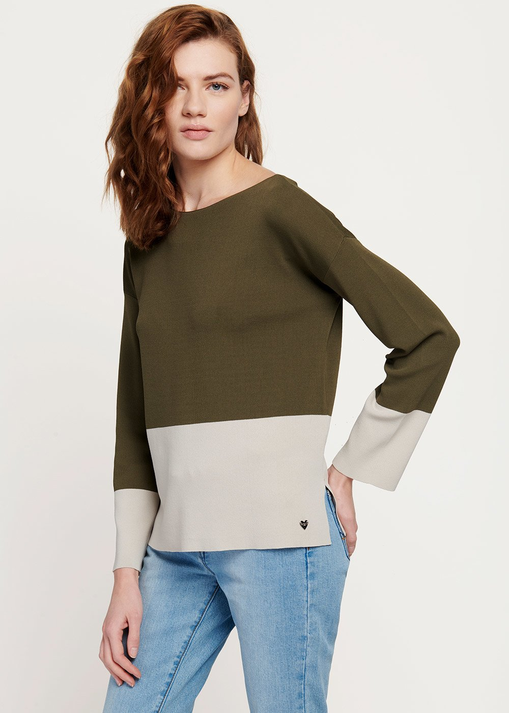 Marilu double-colour cotton yarn sweater - Timo / L.beige	 - Woman
