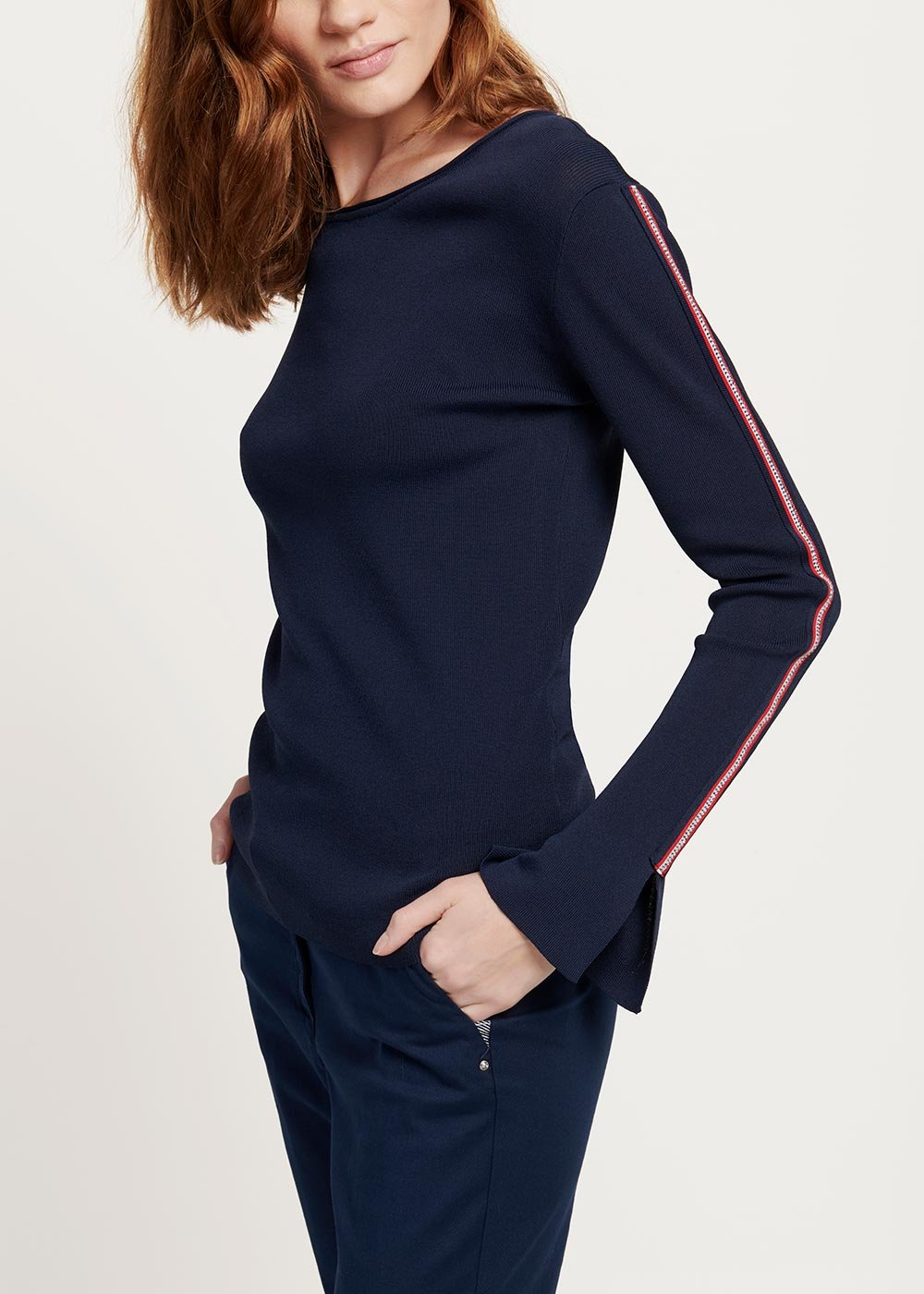 Melyssa sweater with ribbon details - Medium Blue - Woman