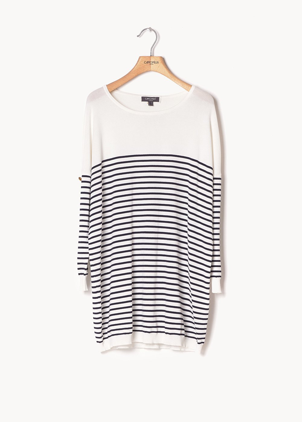 Meggy two-tone sweater with gold buttons - White / Blu / Stripes - Woman