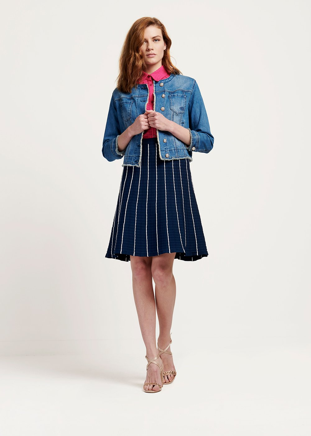 Gheos denim jacket with pearl closure - Denim - Woman