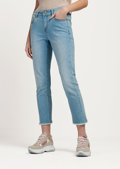 Prinus fringed denim capri trousers