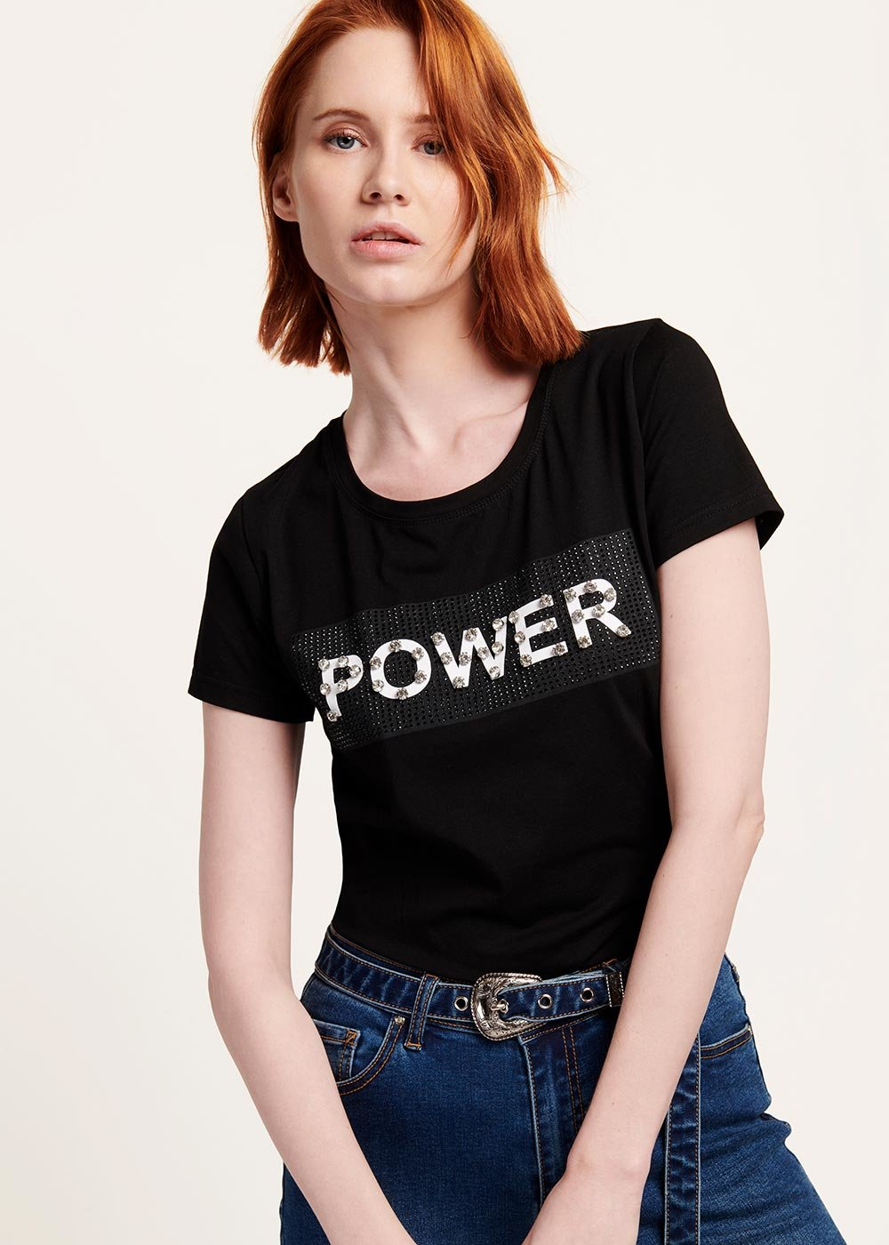 Sybilla T-shirt with front print - Black / White - Woman