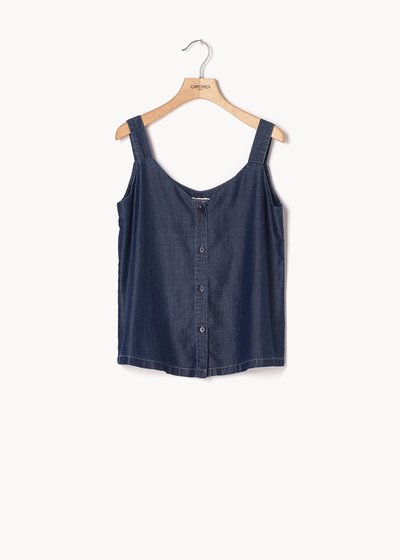 Top Thor in chambray con bottoncini