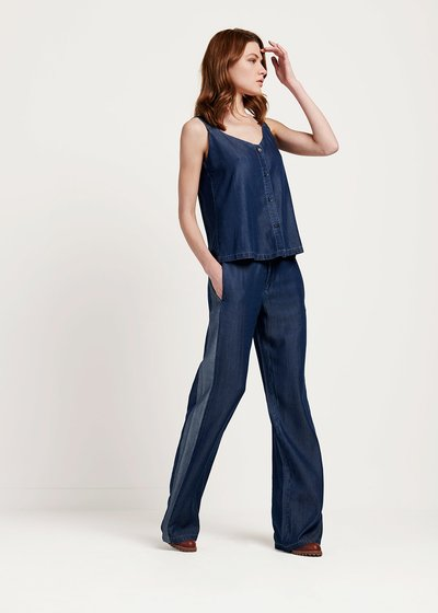 Parky trousers with wide leg and contrasting band