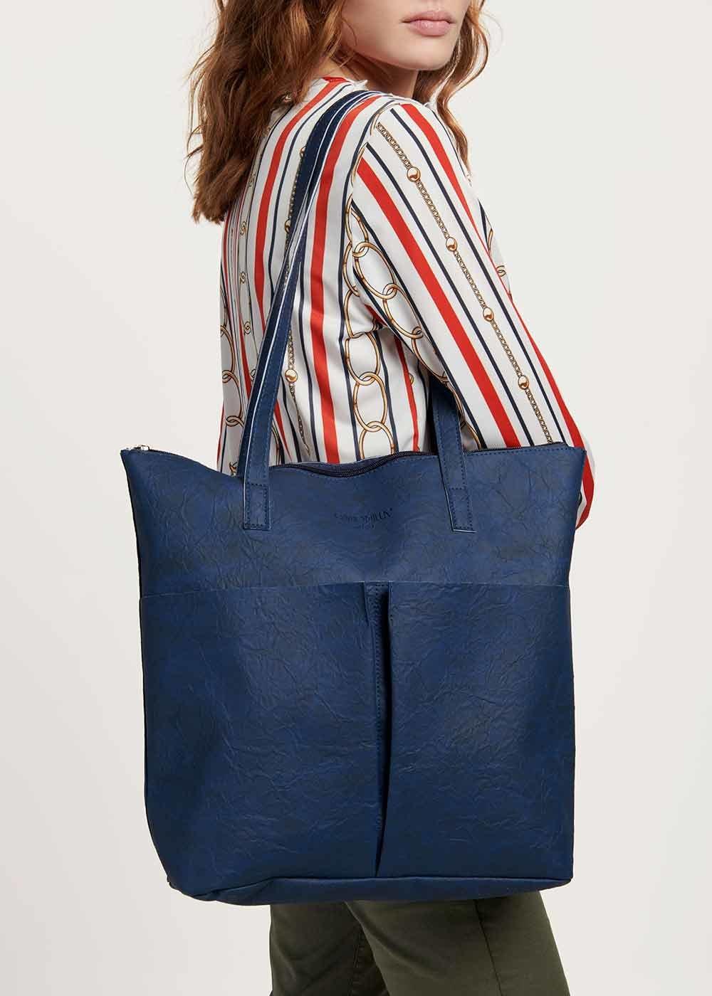 Blanche shopping bag with ruffles - Medium Blue - Woman