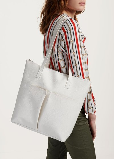 Shopping bag Blanche con increspature